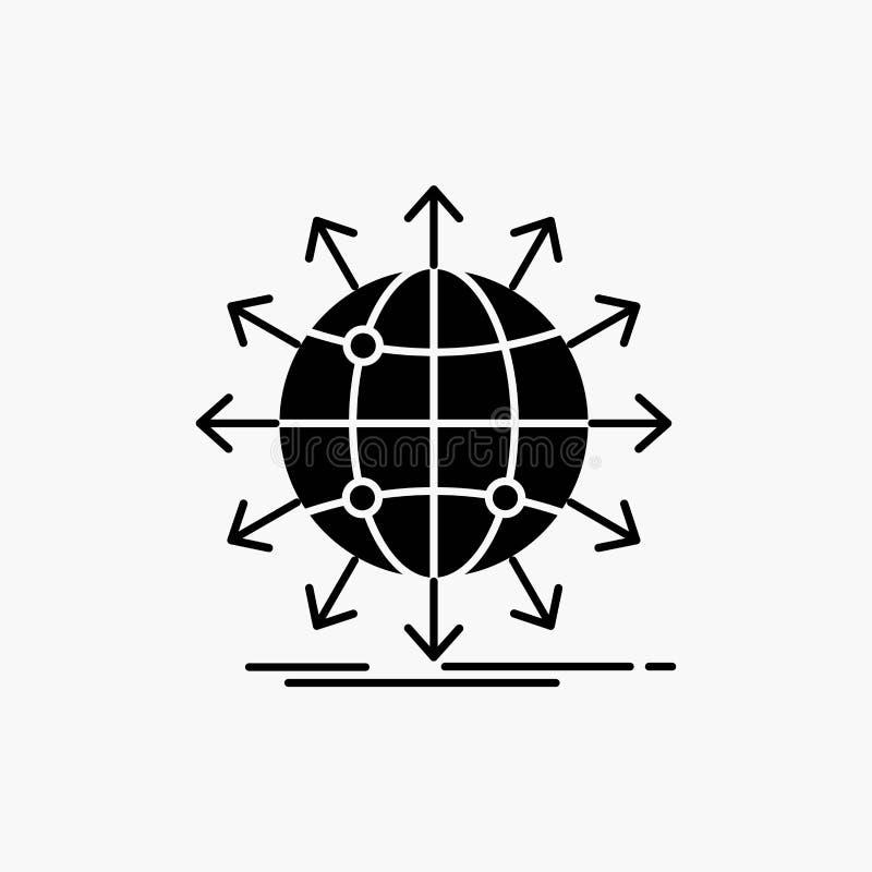 bol, netwerk, pijl, nieuws, Glyph-Pictogram wereldwijd Vector ge?soleerde illustratie vector illustratie