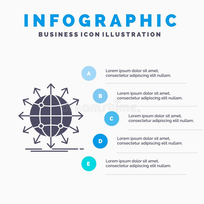 bol, netwerk, pijl, nieuws, Infographics-Malplaatje wereldwijd voor Website en Presentatie GLyph Grijs pictogram met Blauwe infog royalty-vrije illustratie