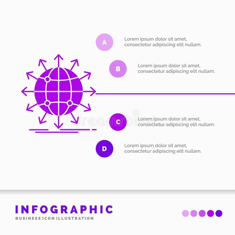 bol, netwerk, pijl, nieuws, Infographics-Malplaatje wereldwijd voor Website en Presentatie Infographic stijl van het GLyph de Pur vector illustratie