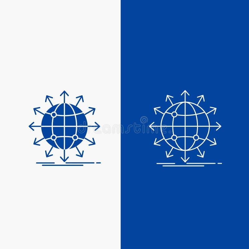 bol, netwerk, pijl, nieuws, Lijn en Glyph-Webknoop wereldwijd in Blauwe kleuren Verticale Banner voor UI en UX, website of mobiel vector illustratie
