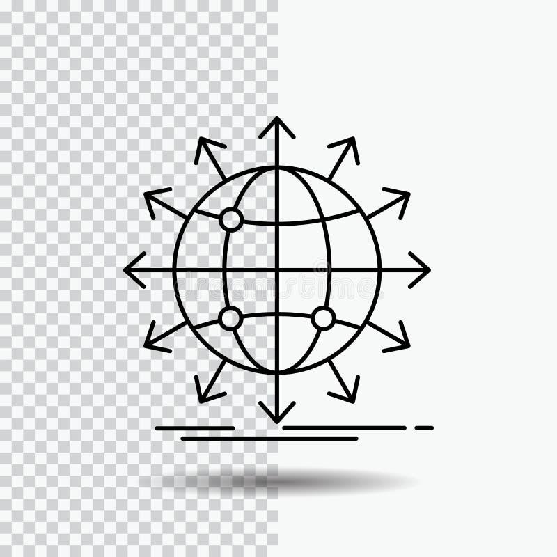 bol, netwerk, pijl, nieuws, Lijnpictogram wereldwijd op Transparante Achtergrond Zwarte pictogram vectorillustratie stock illustratie