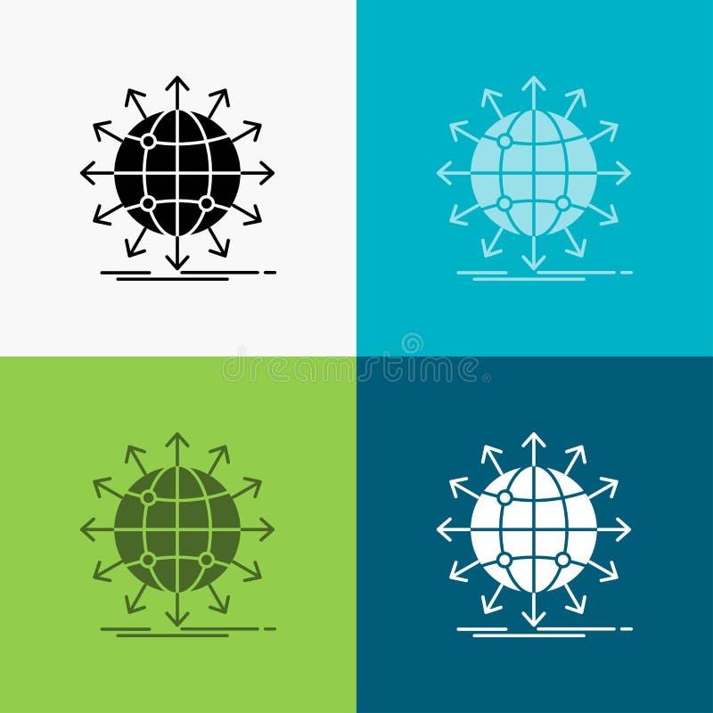 bol, netwerk, pijl, nieuws, Pictogram wereldwijd over Diverse Achtergrond glyph stijlontwerp, voor Web dat en app wordt ontworpen royalty-vrije illustratie