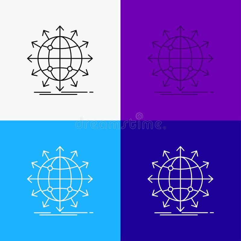 bol, netwerk, pijl, nieuws, Pictogram wereldwijd over Diverse Achtergrond r EPS 10 vector royalty-vrije illustratie