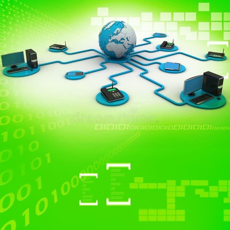 Bol rond met laptop server en computer vector illustratie