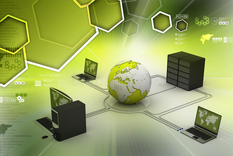 Bol rond met laptop server en computer stock illustratie