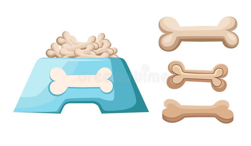 Bol sec de nourriture de chien Chips formés par os Illustration plate de style d'isolement sur le fond blanc Page et APP mobile d illustration stock