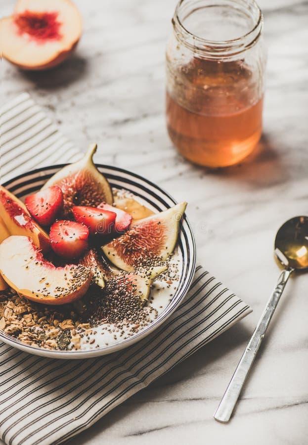 Bol végétarien de petit déjeuner d'été sain avec du yaourt, les fruits et le miel photos libres de droits