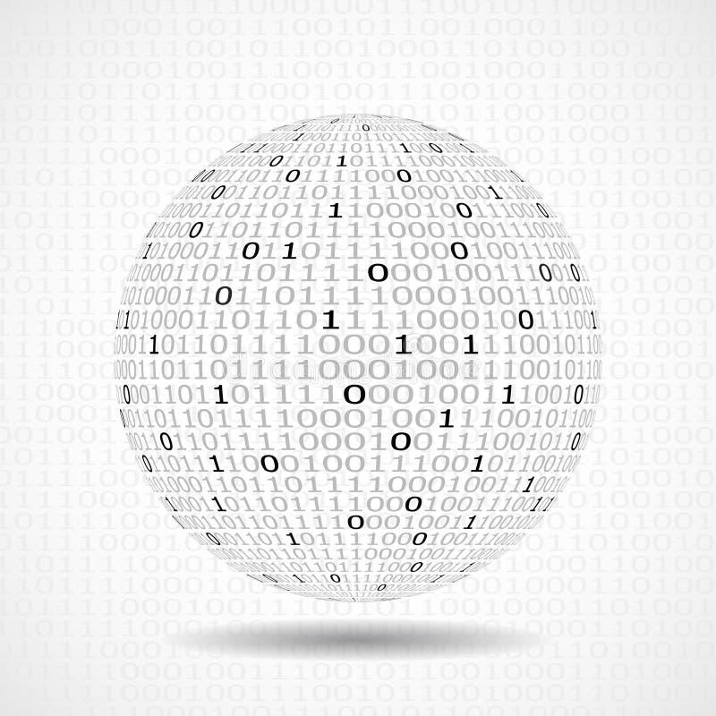 Bol van binaire code Abstracte technologiebal vector illustratie