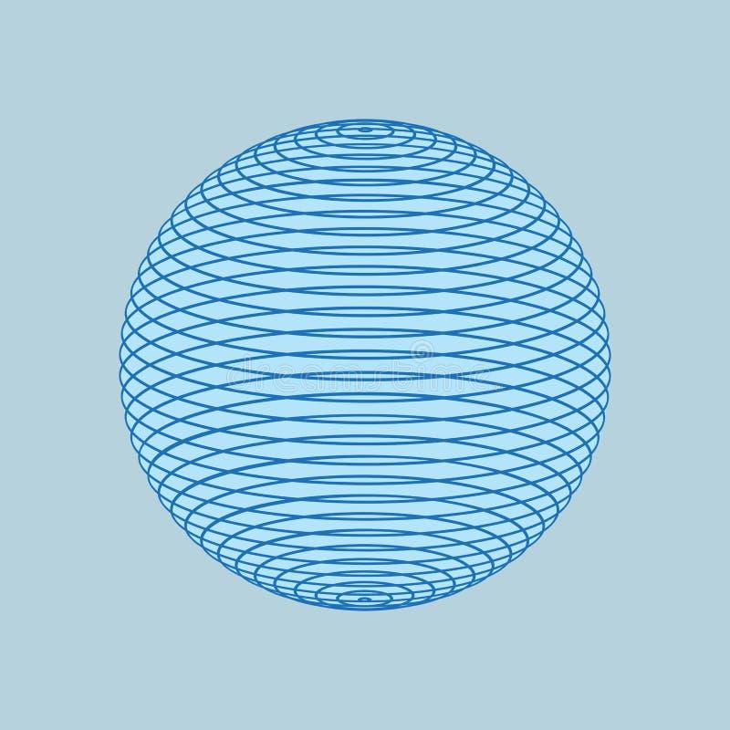 Bol van blauwe geïsoleerde lijnen 3d Lijnbal Netwerk wireframe gebied Vectorvormillustratie stock illustratie
