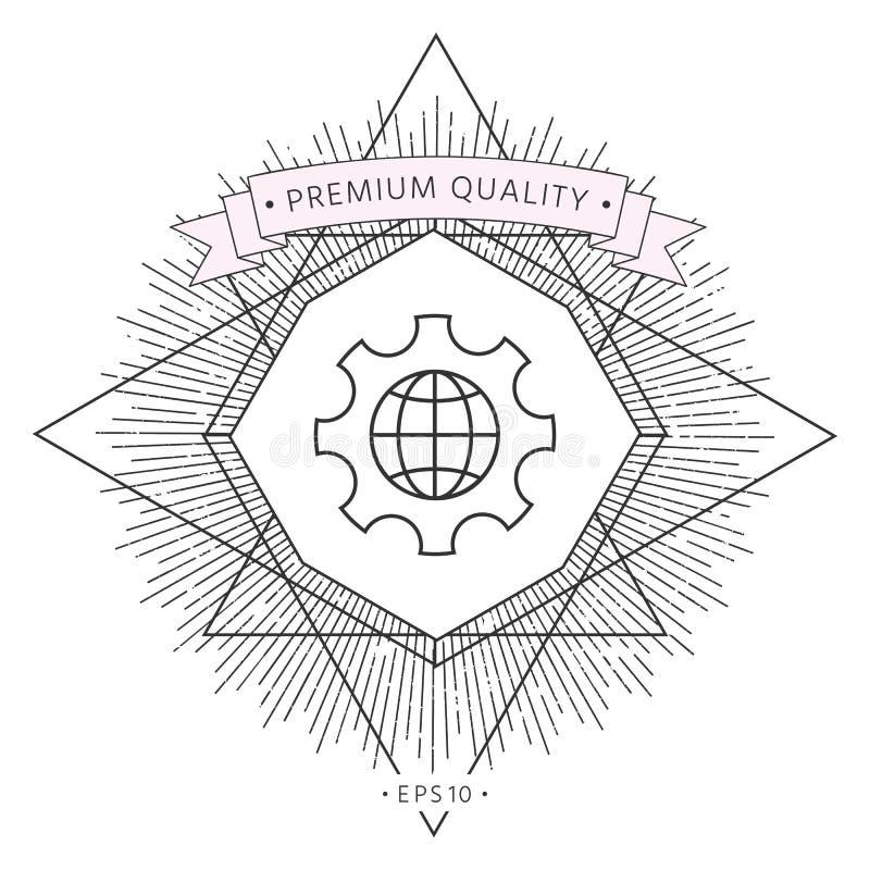 Bol van de Aarde binnen een toestel of een radertje, plaatsende parameters, Globale Opties - lijnpictogram royalty-vrije illustratie