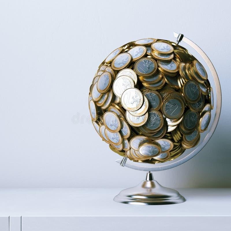Bol van euro muntstukken wordt gecreeerd - metaphoric 3d die beeld geeft terug royalty-vrije illustratie