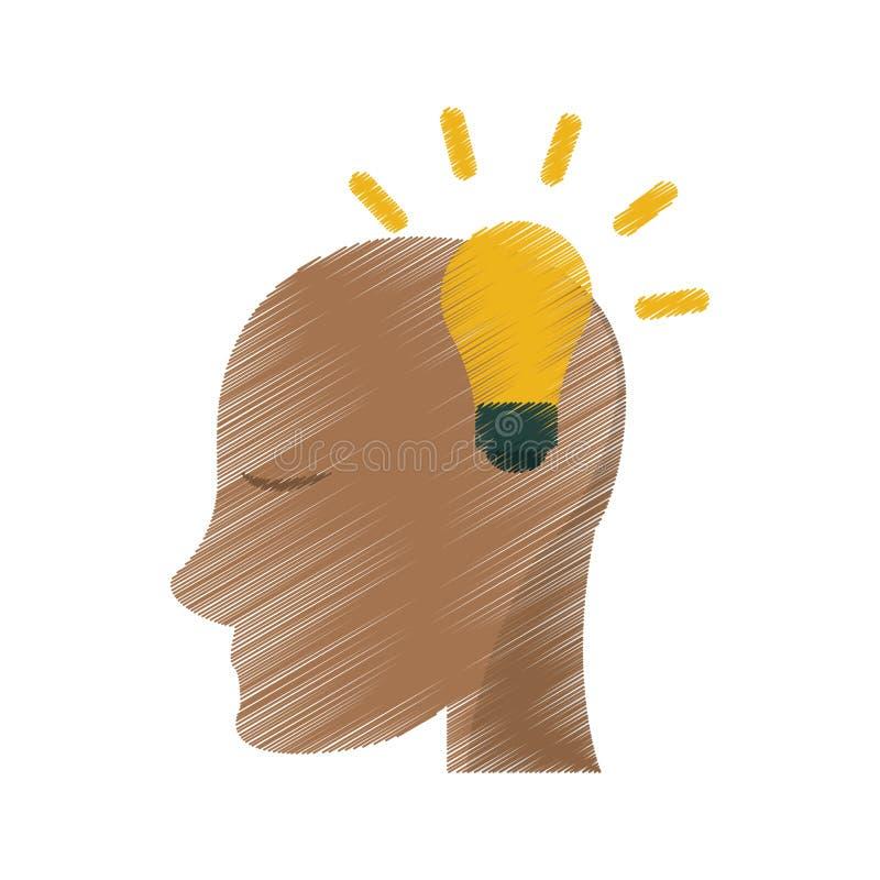 Bol van het tekenings de hoofd menselijke nieuwe idee stock illustratie