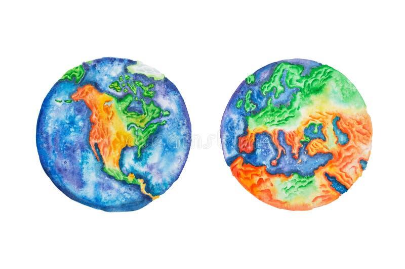 Bol Waterverfillustratie van aarde Noord-Amerika en het vasteland en de continenten van Europa stock illustratie