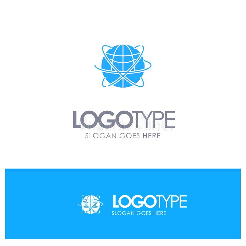 Bol, Zaken, Gegevens, Globaal, Internet, Middelen, Wereld Blauw Stevig Embleem met plaats voor tagline stock illustratie