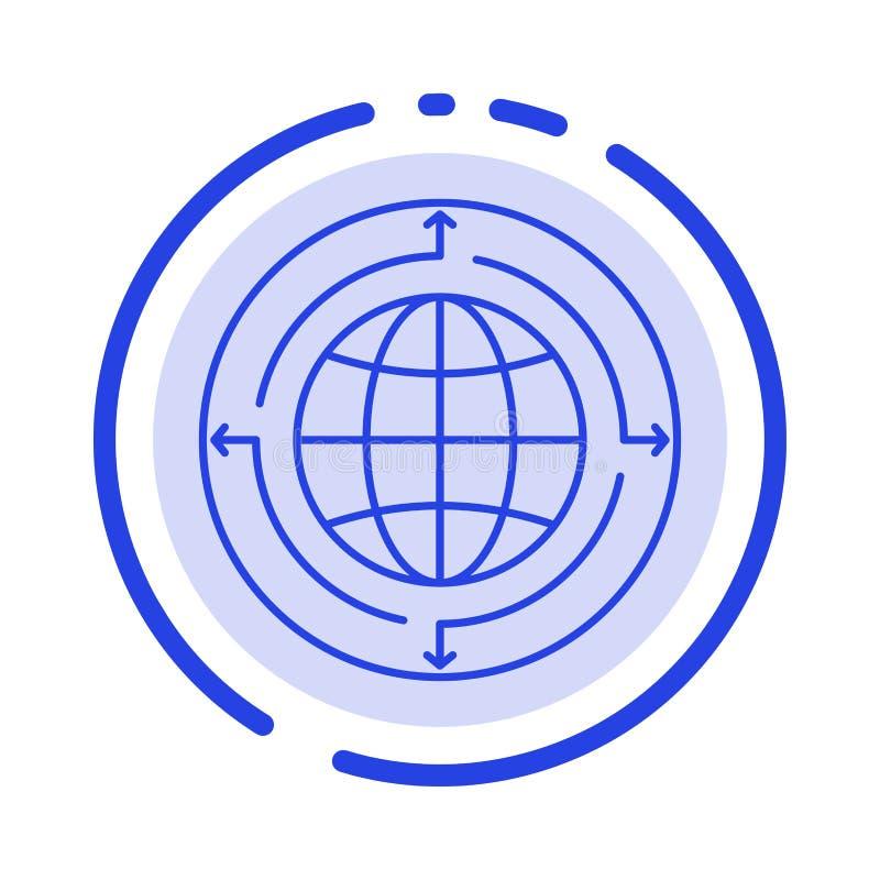 Bol, Zaken, Mededeling, Verbinding, Globaal, de Lijnpictogram van de Wereld Blauw Gestippelde Lijn vector illustratie