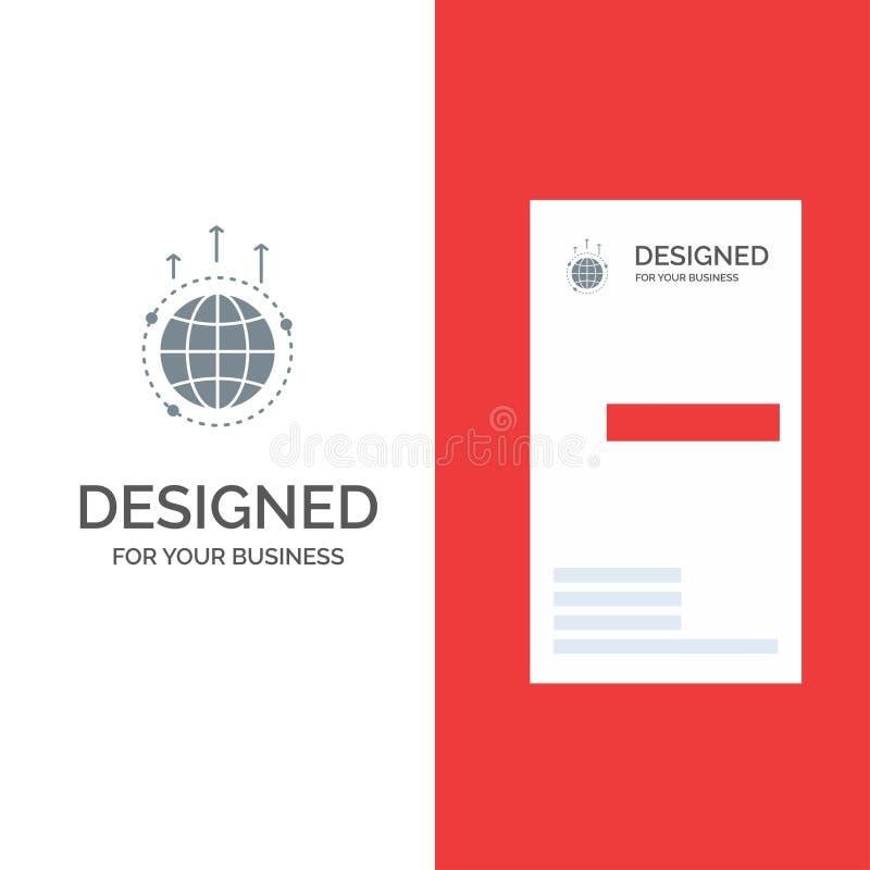 Bol, Zaken, Mededeling, Verbinding, Globaal, Wereld Grey Logo Design en Visitekaartjemalplaatje royalty-vrije illustratie
