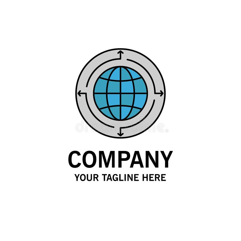 Bol, Zaken, Mededeling, Verbinding, Globaal, Wereldzaken Logo Template vlakke kleur royalty-vrije illustratie