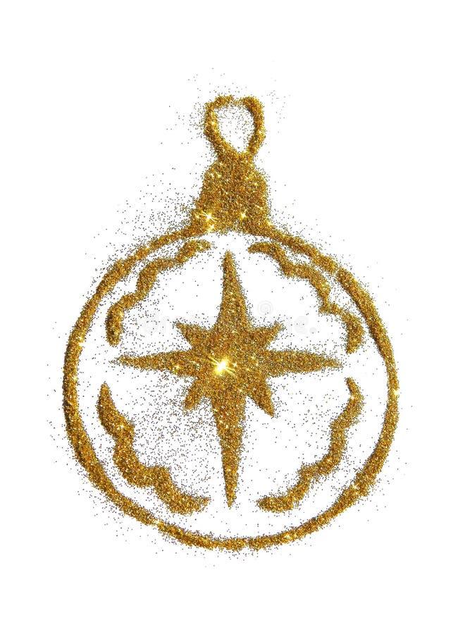 Bola abstracta de la Navidad con la estrella del brillo de oro, elemento festivo del diseño, icono imágenes de archivo libres de regalías
