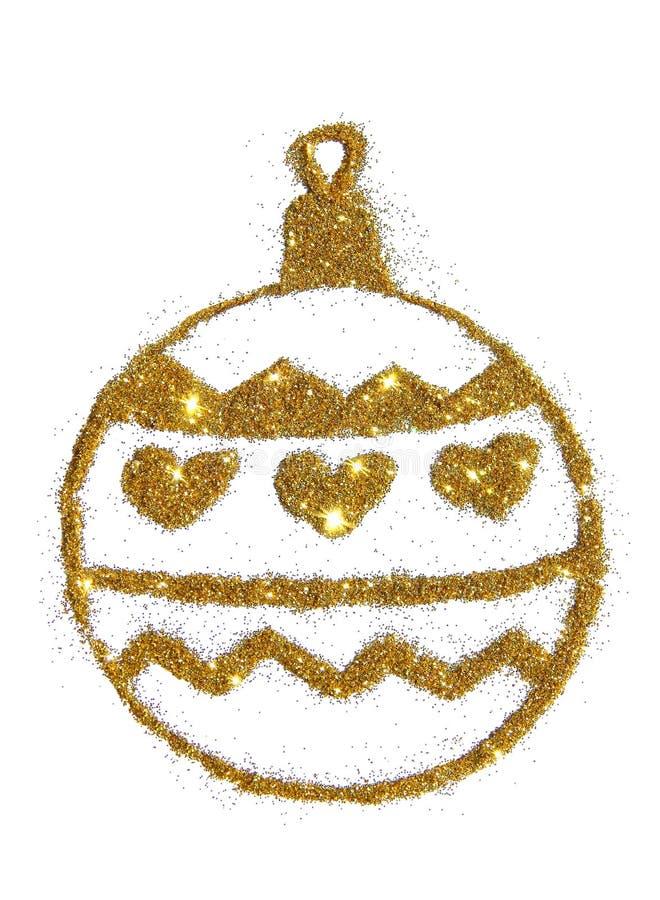 Bola abstracta de la Navidad del brillo de oro, elemento festivo del diseño, icono ilustración del vector