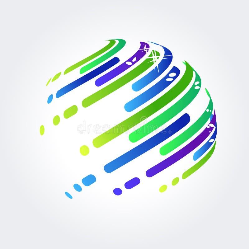 Bola abstracta hecha de rayas stock de ilustración
