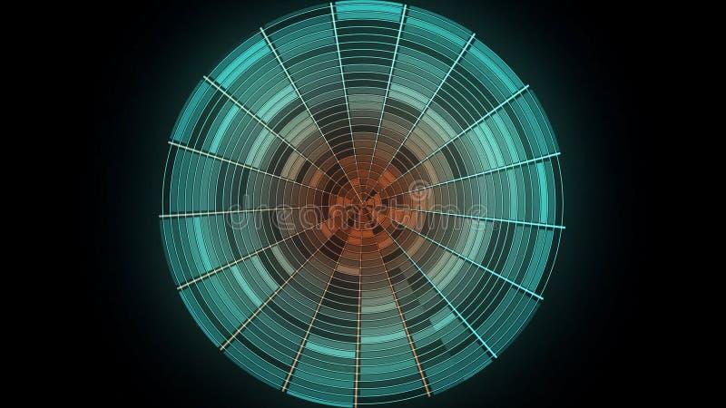 Bola abstrata do disco no fundo preto animation A bola do disco do inclinação da cor com destaques reflexivos gerencie dentro ilustração stock