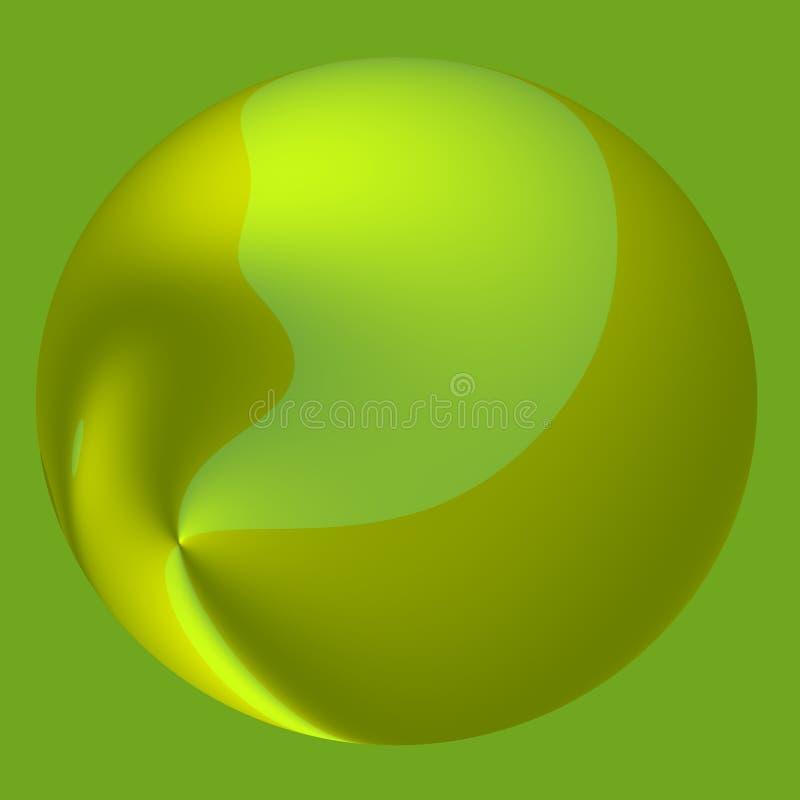 Bola abstrata verde dos doces - fundo da gota 3D ilustração stock