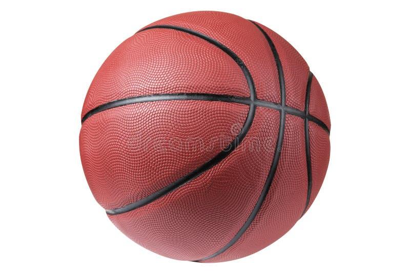 Bola alaranjada no fundo branco, bola grande de borracha do basquetebol imagem de stock royalty free