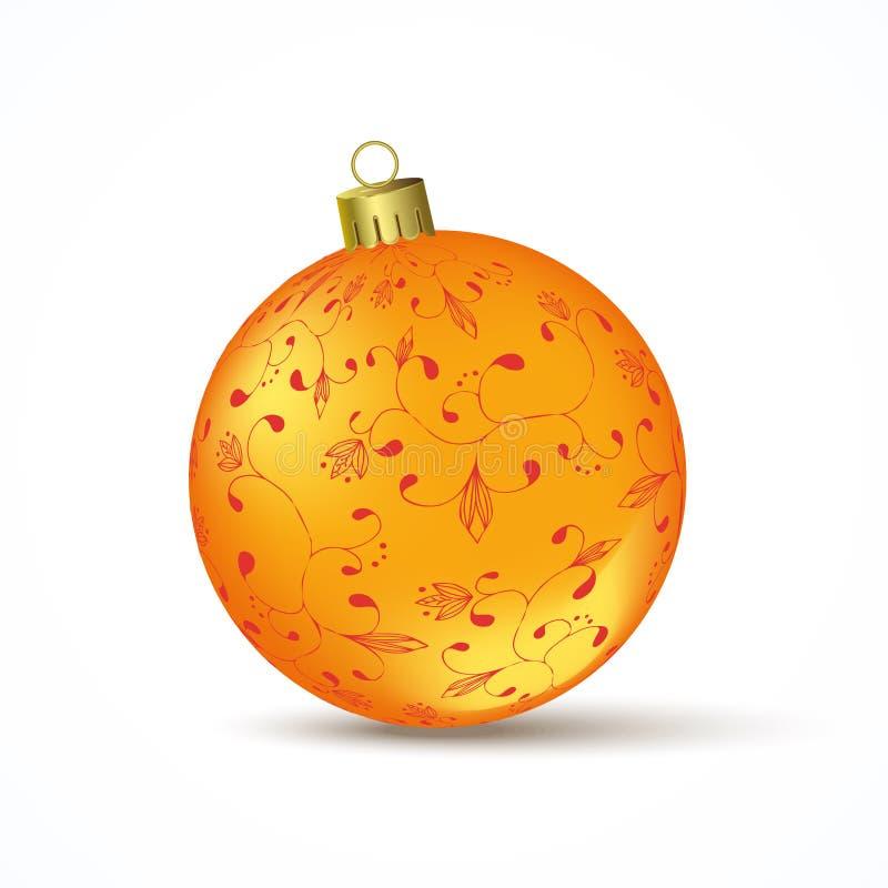 Bola amarela do Natal ilustração royalty free