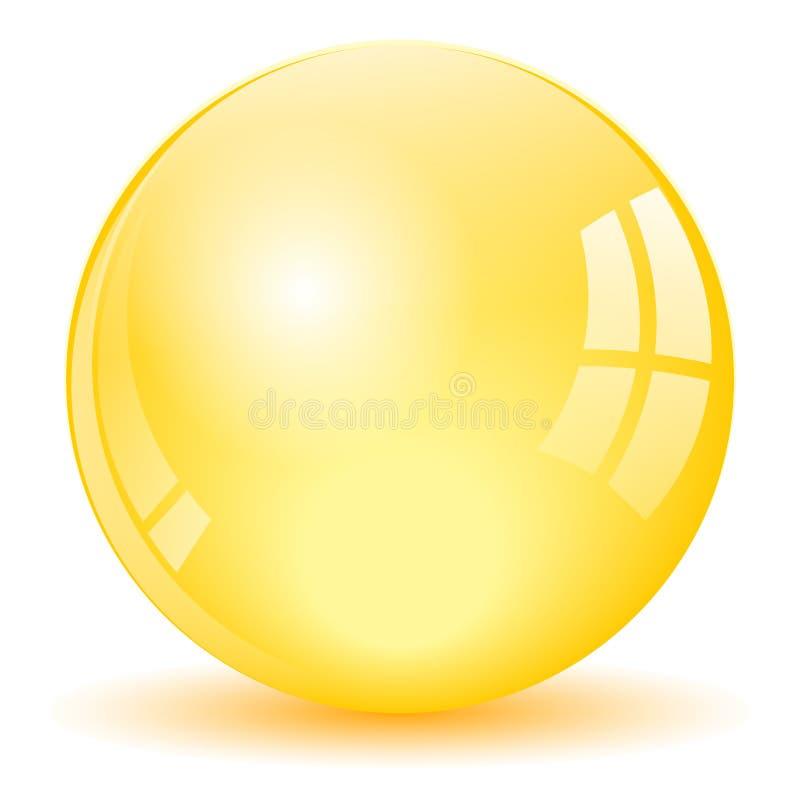 Bola amarilla de la esfera ilustración del vector