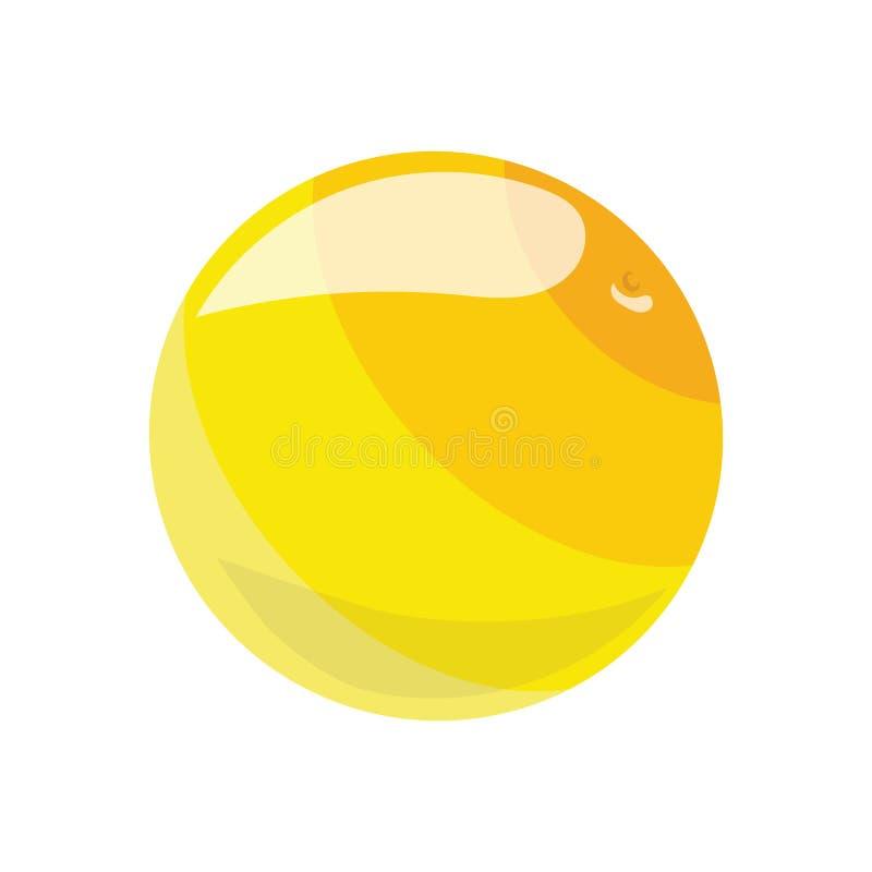 Bola amarilla de la historieta Bola de goma del juguete para los niños Ejemplo de color para los niños stock de ilustración