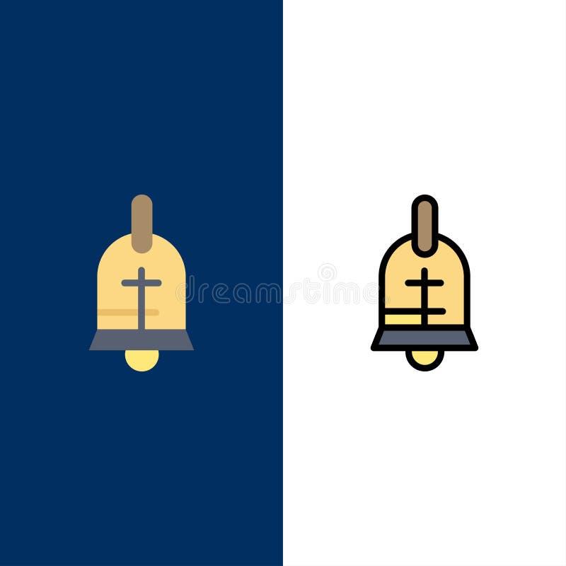 Bola, anillo, Pascua, iconos del día de fiesta El plano y la línea icono llenado fijaron el fondo azul del vector ilustración del vector