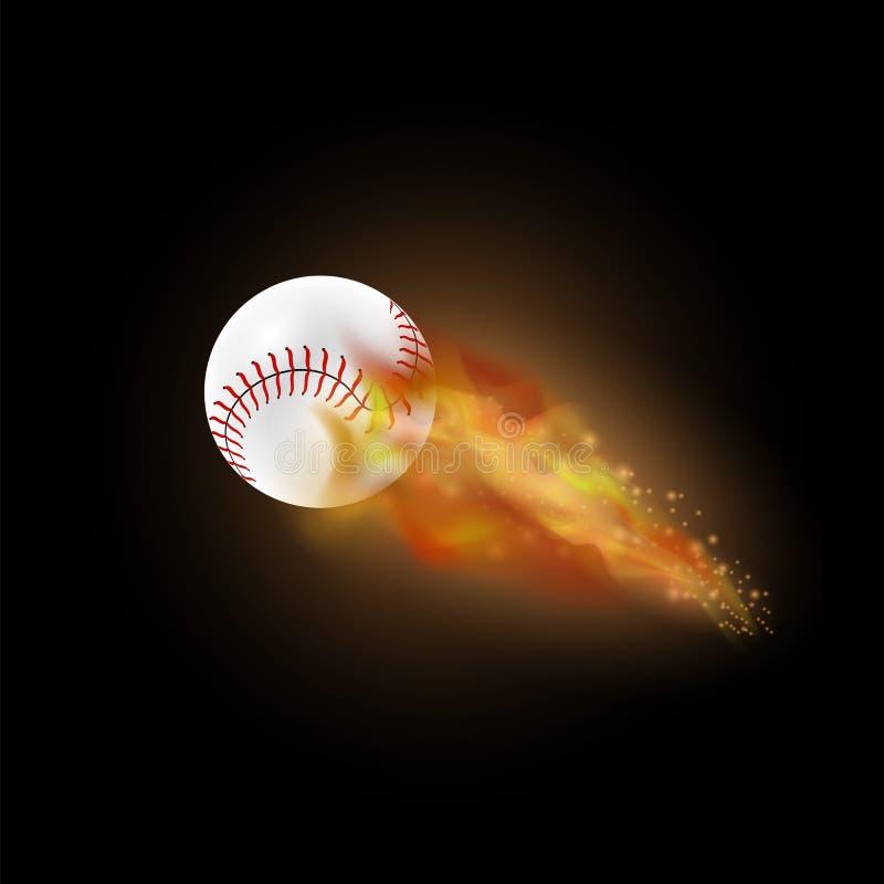 Bola ardiente del béisbol con la llama del fuego ilustración del vector