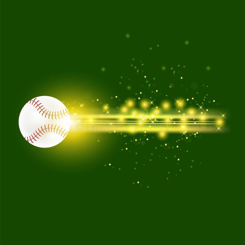 Bola ardiente del béisbol con las chispas amarillas ilustración del vector