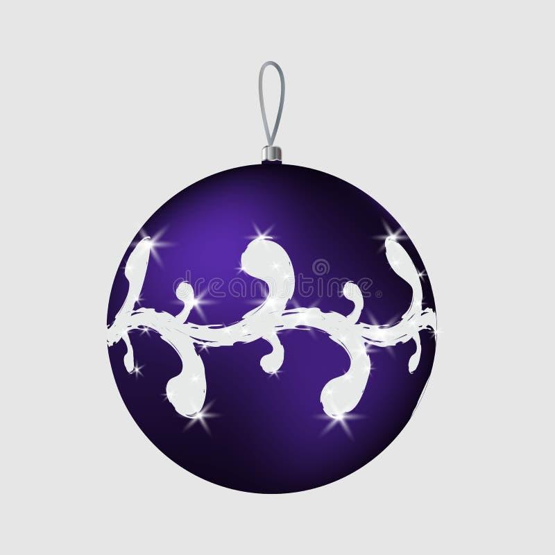 Bola azul brillante de la Navidad imagen de archivo