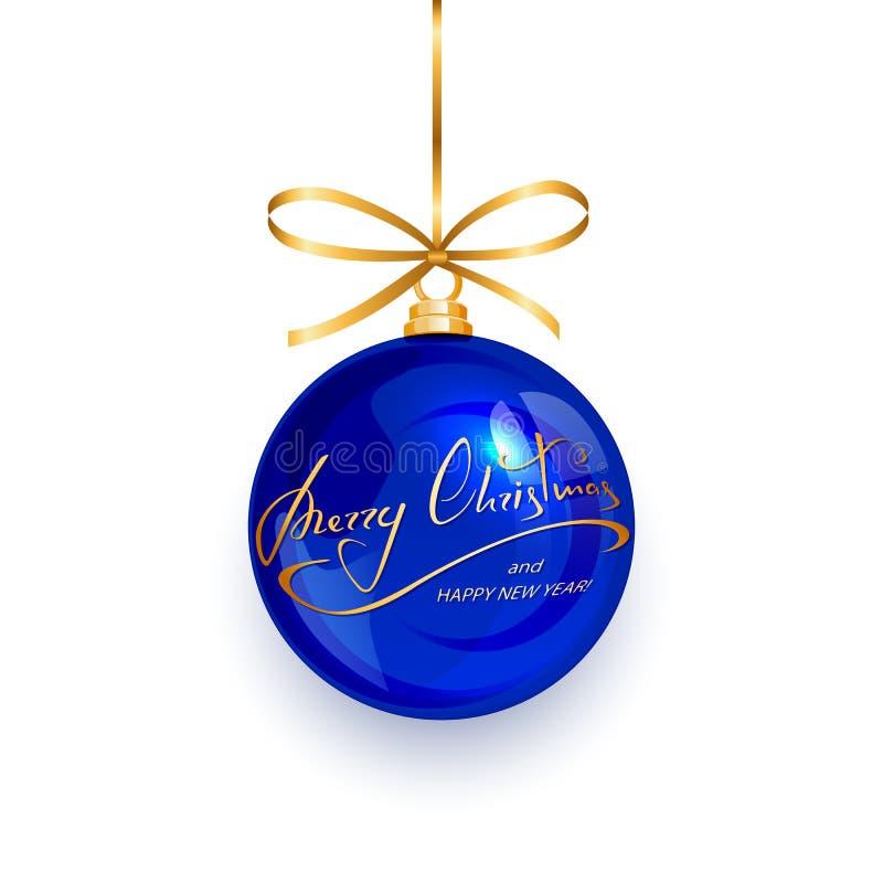 Bola azul con Feliz Navidad del texto y Feliz Año Nuevo ilustración del vector