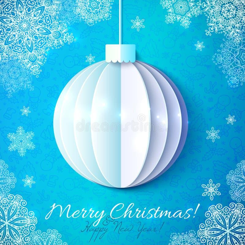 Bola azul de la navidad del papel del recorte en estilo de - Bolas navidad de papel ...