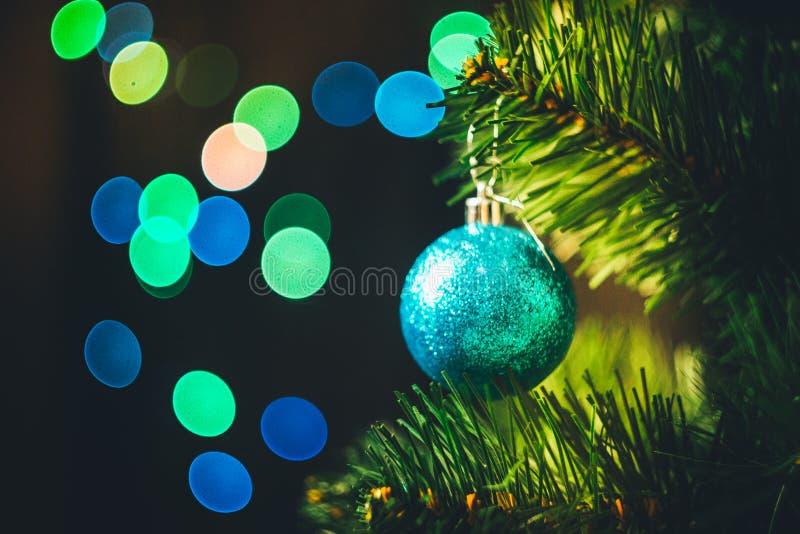 Bola azul de la Navidad en el árbol de navidad de la picea con multicolor fotografía de archivo