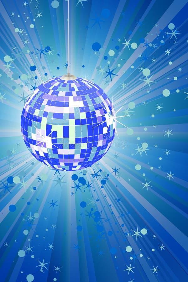 Bola azul del disco con los rayos y los brillos stock de ilustración
