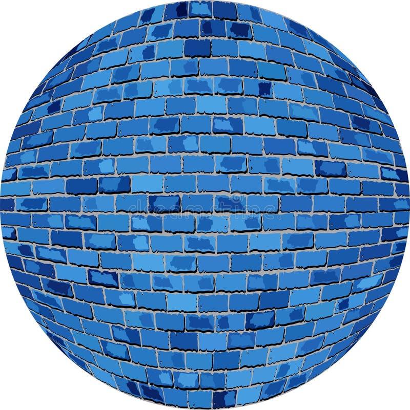 Bola azul del ladrillo ilustración del vector