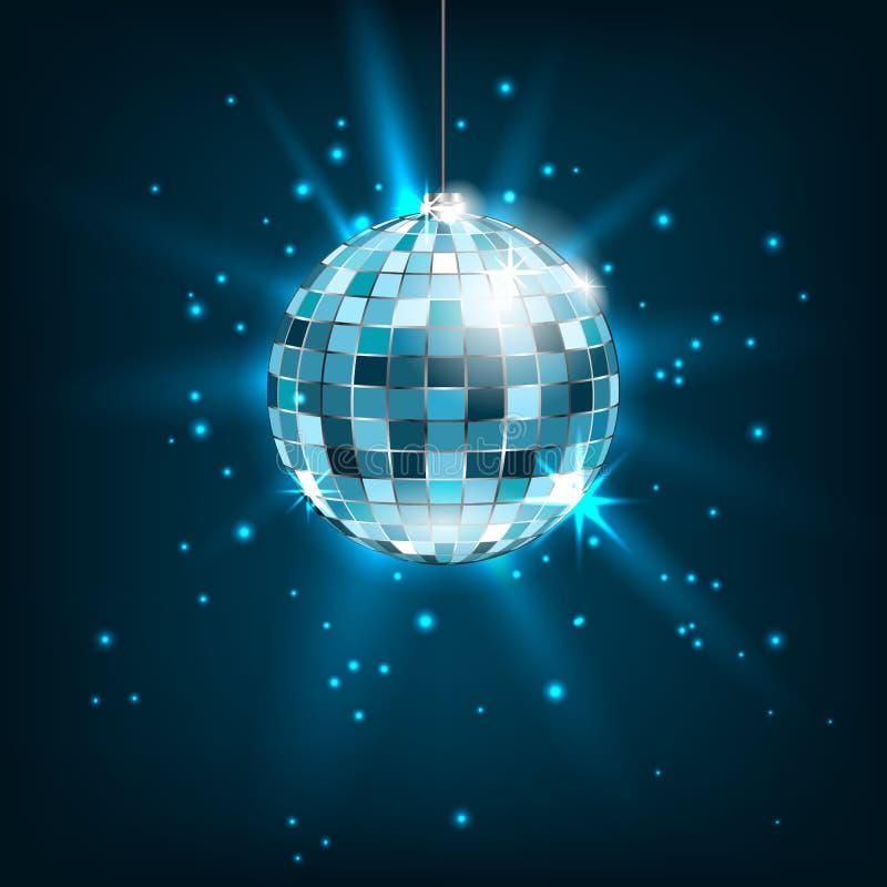 Bola azul do disco com raios claros Fundo brilhante do brilho ilustração royalty free
