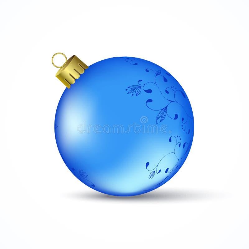 Bola azul do Natal ilustração do vetor