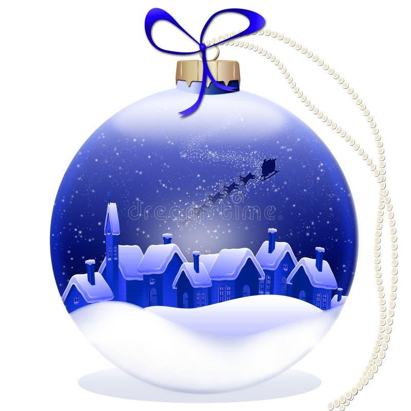 Bola azul do Natal com decoração ilustração royalty free