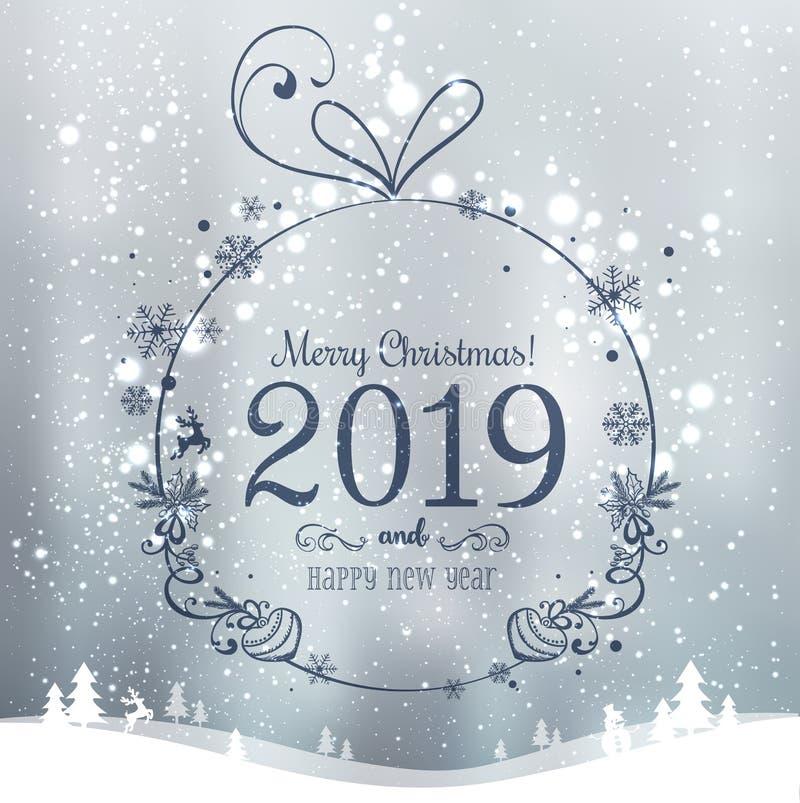 Bola brilhante do Xmas para o Feliz Natal 2019 e ano novo no fundo dos feriados com paisagem com flocos de neve, luz do inverno,  ilustração do vetor