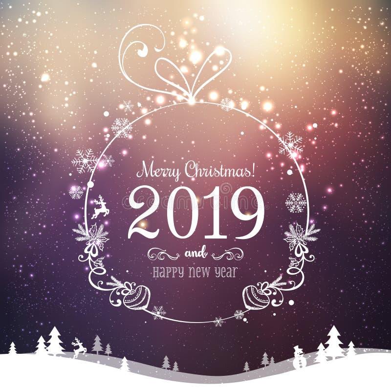 Bola brilhante do Xmas para o Feliz Natal 2019 e ano novo no fundo dos feriados com paisagem com flocos de neve, luz do inverno,  ilustração stock