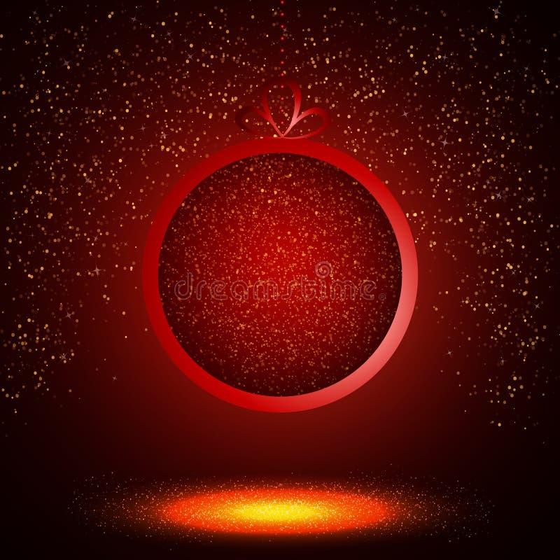 Bola brillante abstracta de la Navidad en fondo rojo ilustración del vector