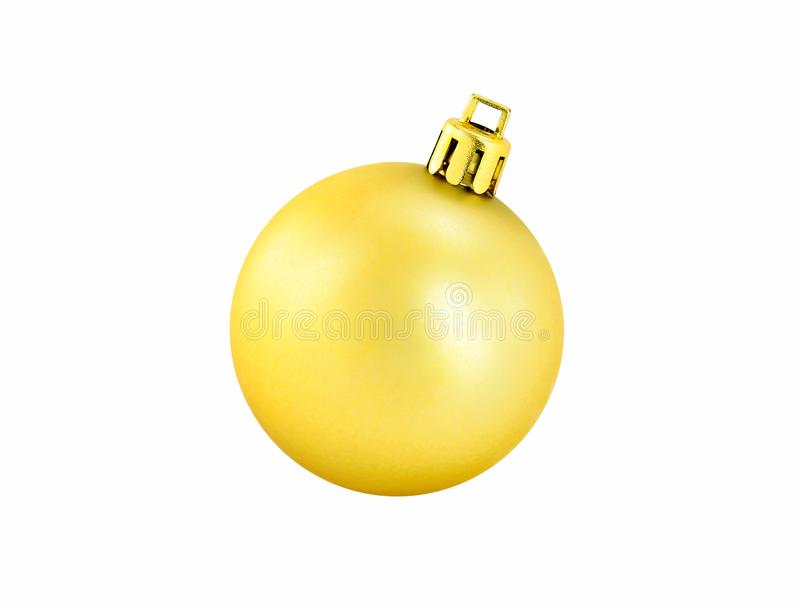 Bola brillante de la Navidad del oro aislada en el fondo blanco fotografía de archivo libre de regalías
