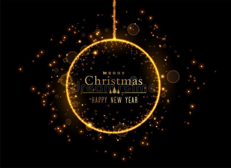 Bola brillante de la Navidad hecha con las chispas de oro libre illustration