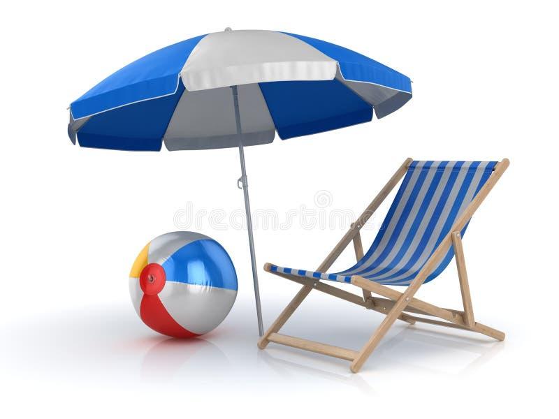 Bola, cadeira e guarda-chuva de praia ilustração royalty free