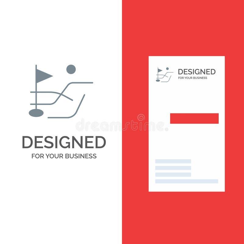 Bola, campo, deporte Grey Logo Design del golf y plantilla de la tarjeta de visita ilustración del vector