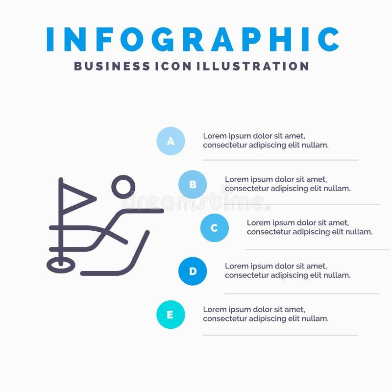 Bola, campo, linha ícone do esporte do golfe com fundo do infographics da apresentação de 5 etapas ilustração do vetor